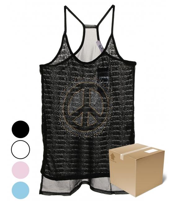 Pack 12 débardeurs tuniques Peace and Love